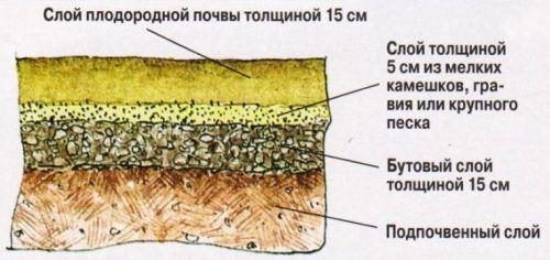 На тяжёлых суглинистых почвах под газон закладывают дренажный слой из мелкого гравия