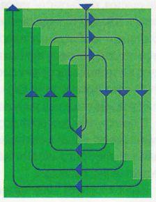 Разгонный способ косьбы — движение по спирали от центра к краям — достался в наследство от кошения дикого луга, когда нужно было отпугнуть прячущуюся в траве живность. По спирали целесообразно косить уклоны во избежание водной эрозии почвы