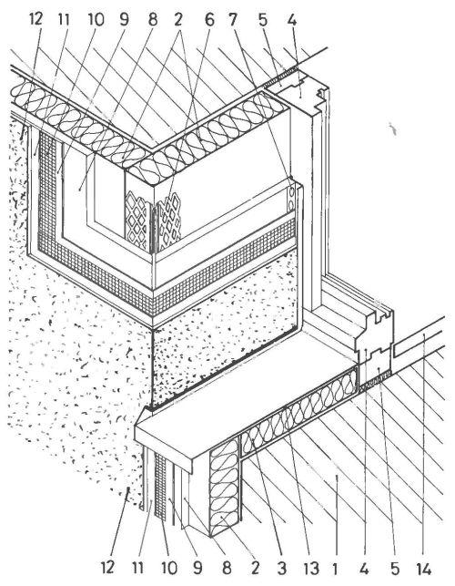 Соединение однооболочной усиленной системы теплоизоляции с окном