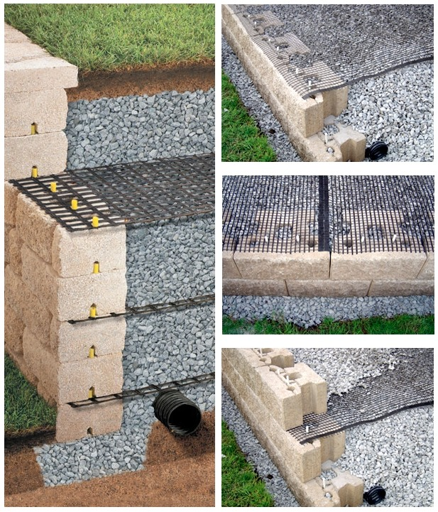 Георешетка при строительстве подпорных стенок