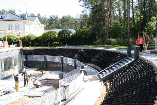 Укрепление склонов берега при строительстве искусственного водоема