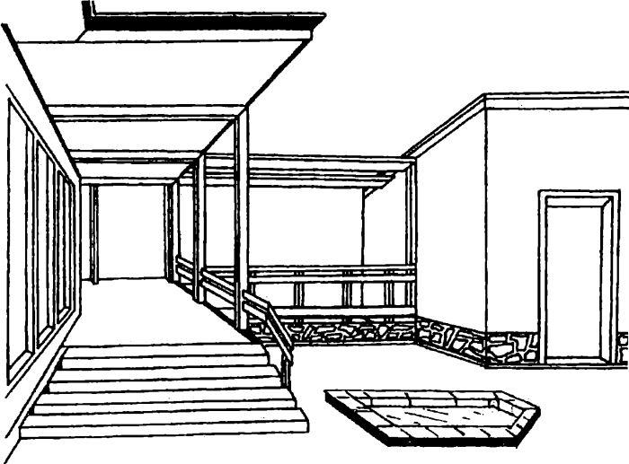 Совмещение террасы с площадкой для отдыха и бассейном
