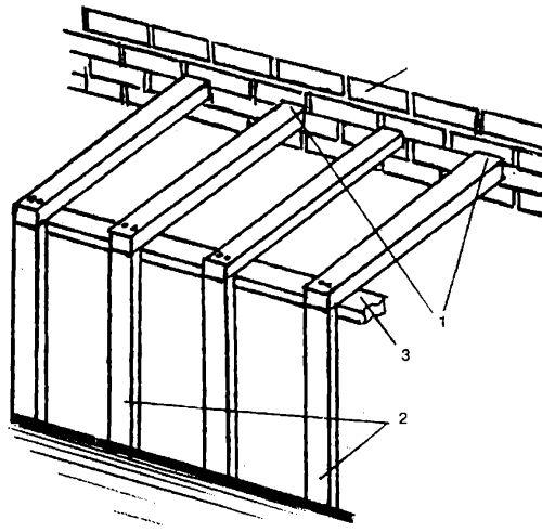 Стоечно-балочная систем террасы, примыкающей к стене дома