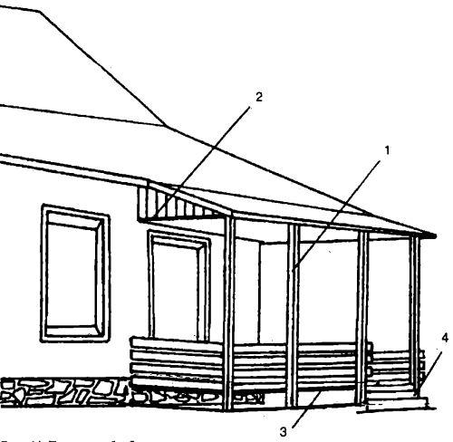 Терраса, объединенная с крыльцом, сооруженная на основе стоечно-балочной системы