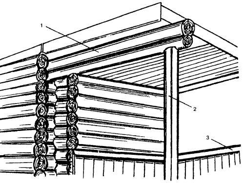 Терраса, балочной основой которой являются верхние венцы сруба