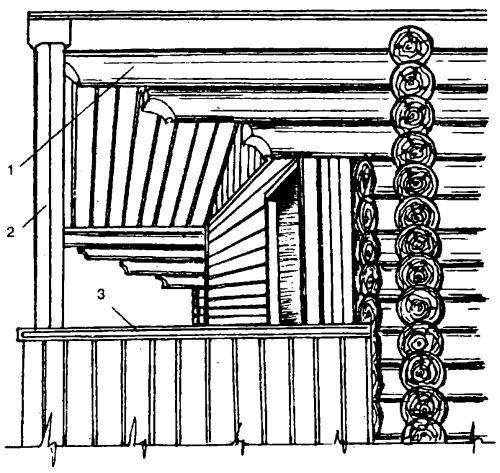 Варианты конструкции террасы на основе удлиненных венцов сруба