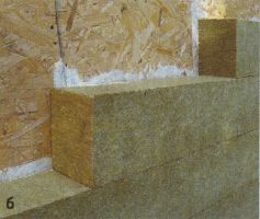 К ОСП-плитам снаружи приклеили плиты утеплителя «Rockwool Фасад Ламелла» толщиной 150 мм