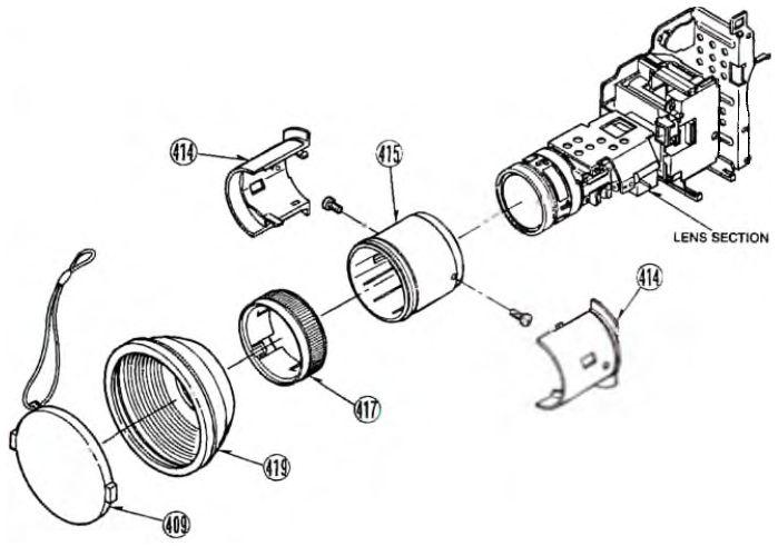 Фрагмент сборочного чертежа моделей NV-M40/ М3000/М3300