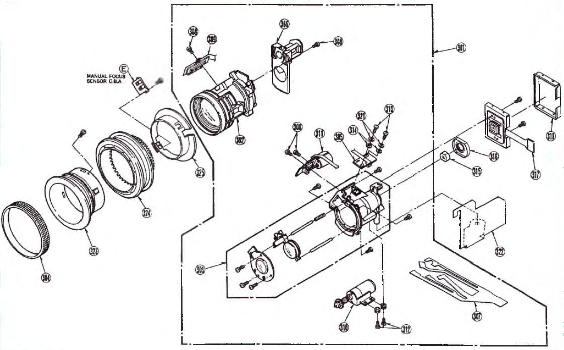 Сборочный чертёж секций объектива видеокамер моделей NV-MS4 М9000/М9900
