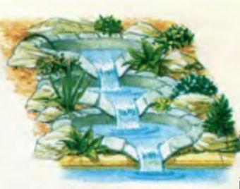 По краям русла водопада выкладывают камни