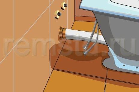 5. Подсоединяем отводную трубу к раструбу канализации