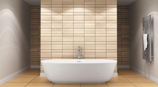 Круглобортная ванна в интерьере ванной комнаты
