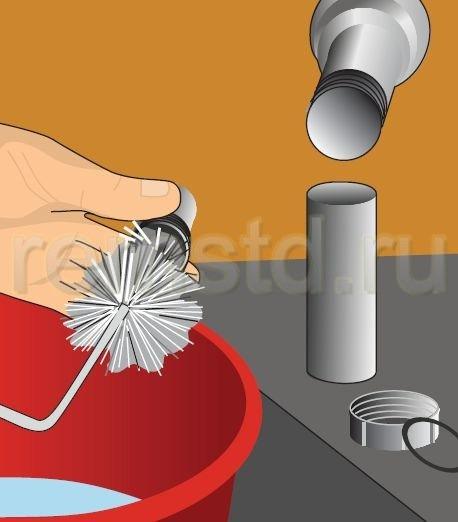 5. Разобранные части сифона можно также промыть и прочистить ершиком