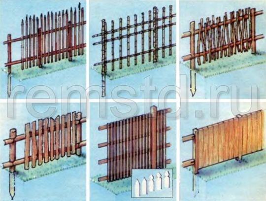 Деревянные заборы из штакетника