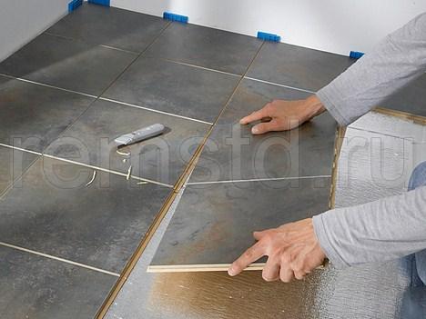 Укладка напольной плитки на замковых соединениях