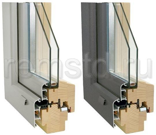 Профиль комбинированного окна - деревоалюминий