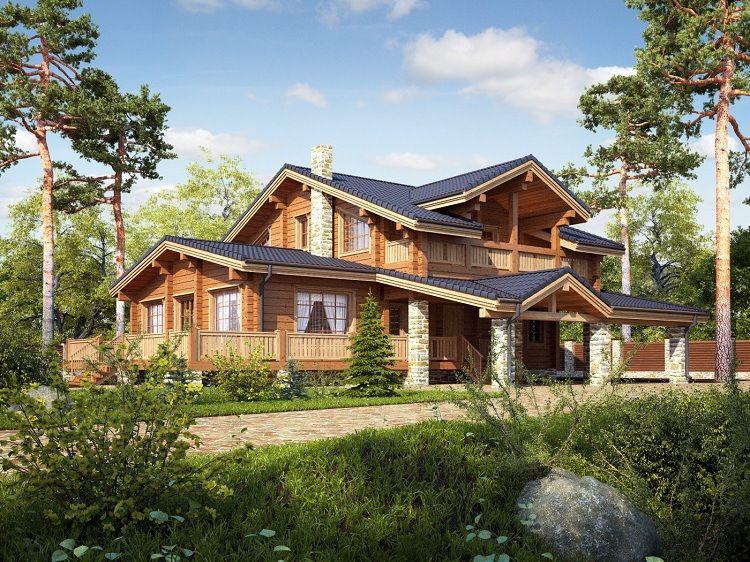 Дома из бруса — особенности архитектурно-ладшафтных решений