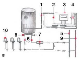 Схема подключения напорного накопительного водонагревателя