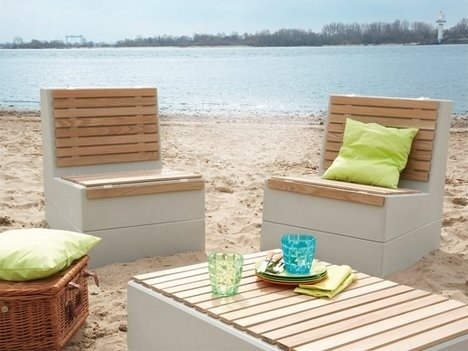Садовая мебель из бетонных блоков