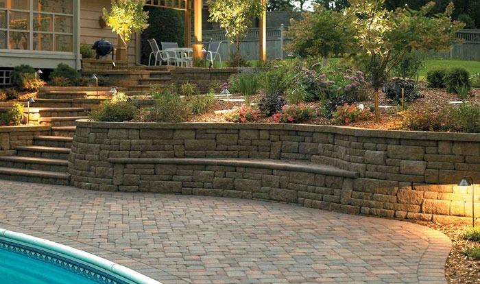 Укрепление склонов и откосов камнями. Строительство подпорных стенок и террас