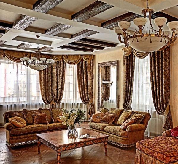 Стиль и архитектура современного загородного дома - гостиная комната