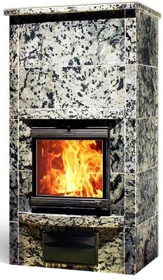 Vuoleri Louna печь-камин из уникального леопардового талькомагнезита