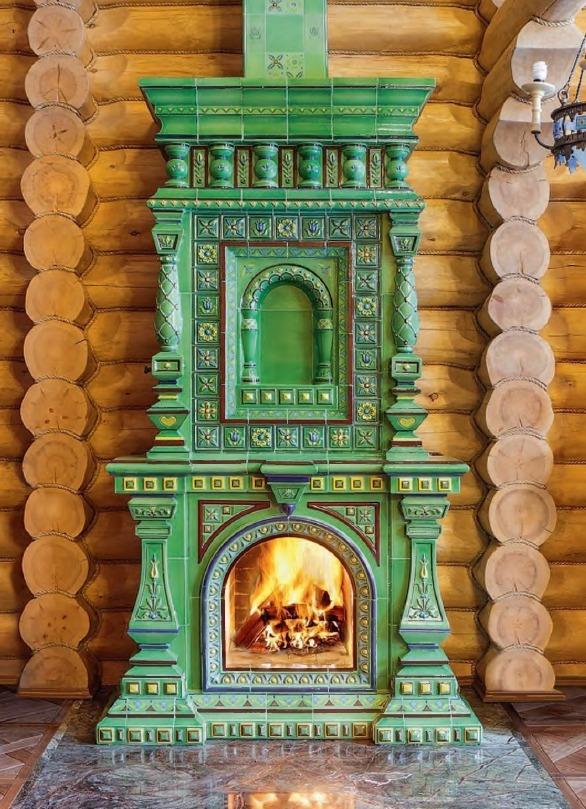 Изразцовый камин в русском стиле