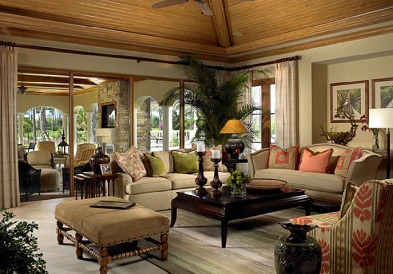 Интерьер гостиной комнаты загородного дома