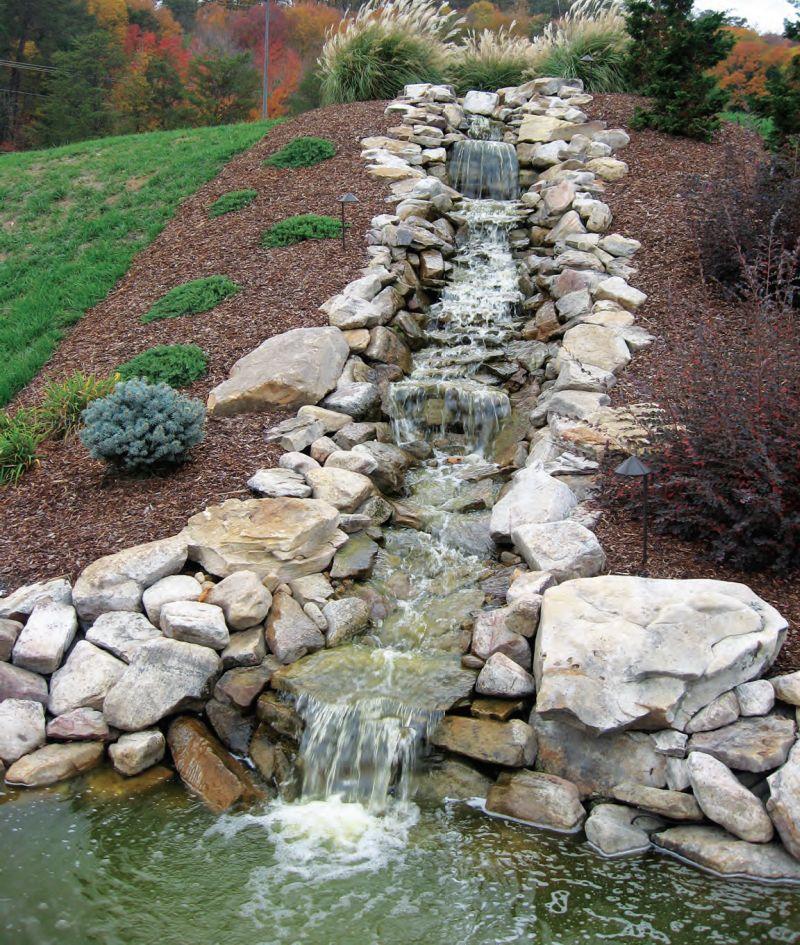 Декоративный садовый пруд с искусственным водопадом