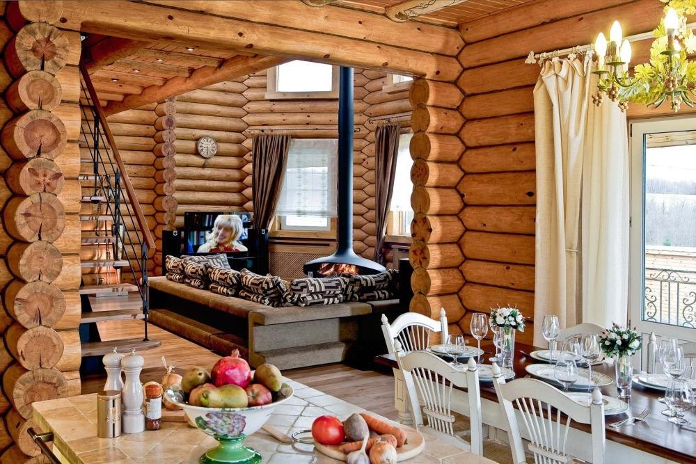 Современный интерьер бревенчатого дома