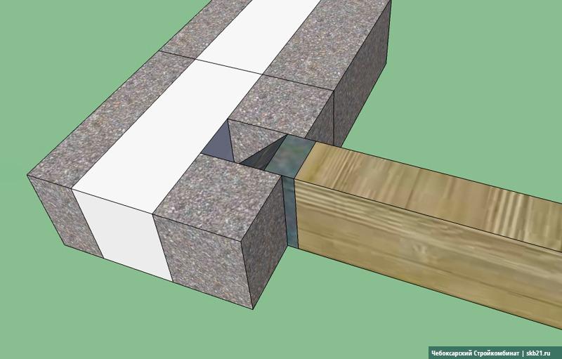 Монтаж деревянных балок на кладку из теплоблоков