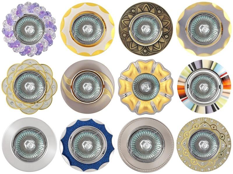 Разнообразие стилистик и цветов в дизайне точечных светильников