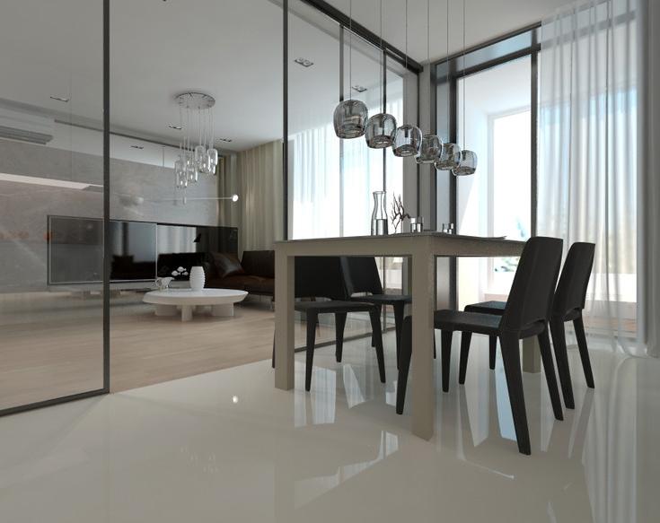 Напольное покрытие объединенного пространства кухни - гостиной