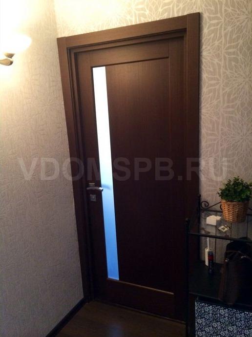 Шпонированная дверь в цвете венге