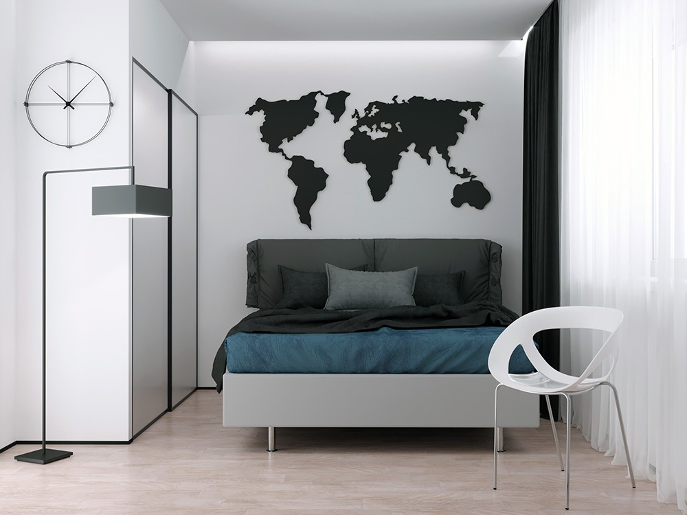 Карта мира на стене в интерьере